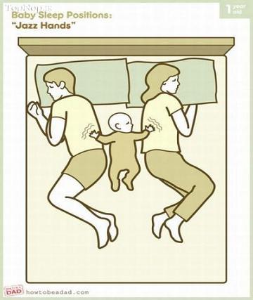 عکس بامزه خوابیدن نوزاد بین پدر و مادر