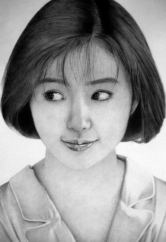 طراحی سیاه قلم چهره دختر , نقاشی صورت دختر
