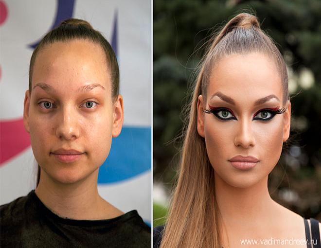 چهره دخترها قبل از میکاپ