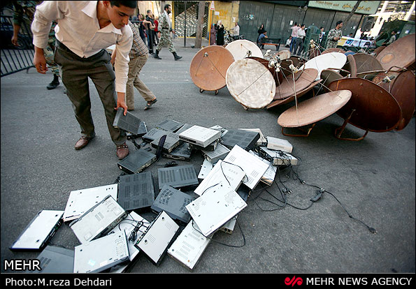 عکس های نابودی داوطلبانه دیش و ماهواره