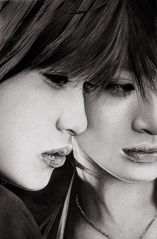 طراحی سیاه قلم چهره دختر-عکس دختر خوشگل